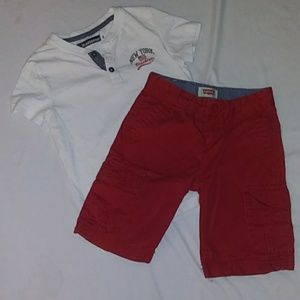 Levi's red shorts and inextenso shirt. Boys